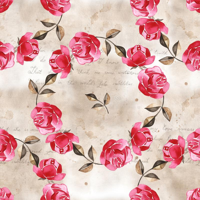Blom- modell för vattenfärg med försiktigt rosa engelska ros- och vårblommor m?nstrad seamless tappning stock illustrationer