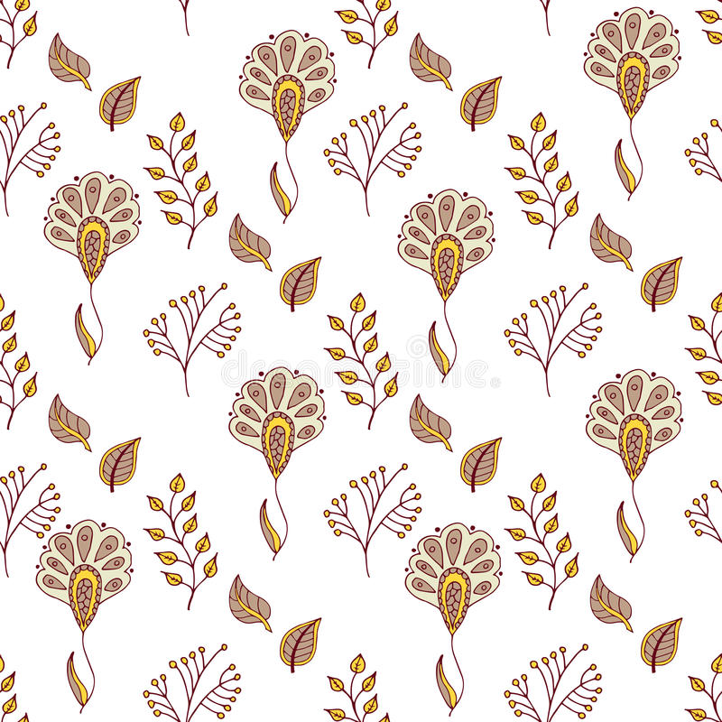 Blom- modell för vektor i klotterstil med blommor och sidor Försiktigt vårbakgrund stock illustrationer
