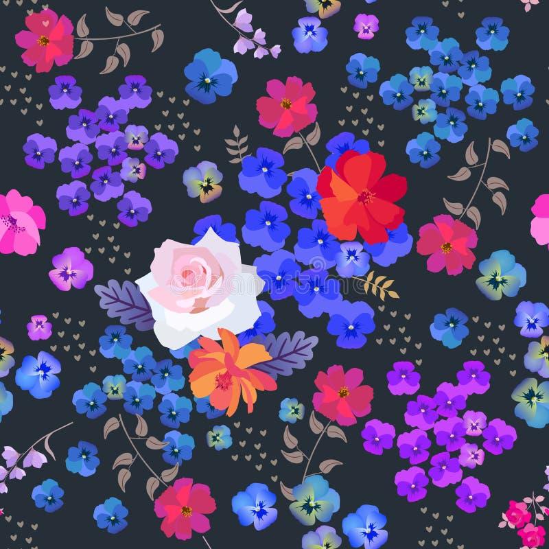 Blom- modell f?r s?ml?s sommar Ros, pens?, kosmos- och klockablommor och sm? hj?rtor som isoleras p? svart bakgrund i vektor royaltyfri illustrationer