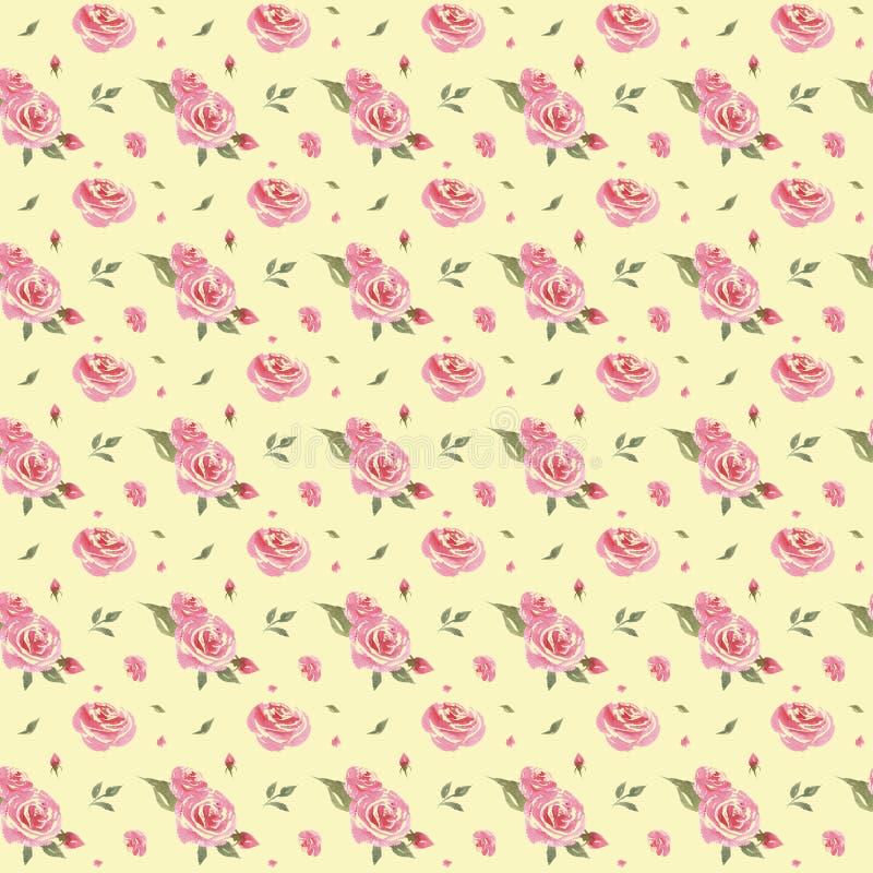 Blom- modell f?r s?ml?s vattenf?rgtappning vektor illustrationer