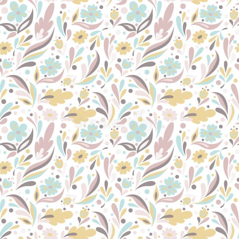 Blom- modell i klotterstil Växt- och blommavektor i nätta pastellfärger royaltyfri illustrationer