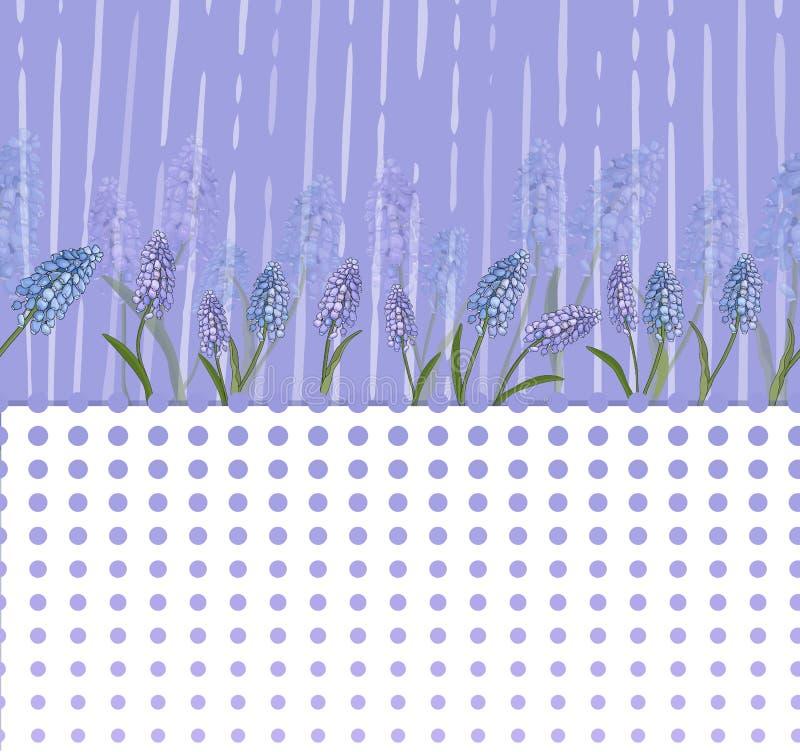 Blom- modell med lila blommor och en remsa av optiska cirklar vektor royaltyfri illustrationer