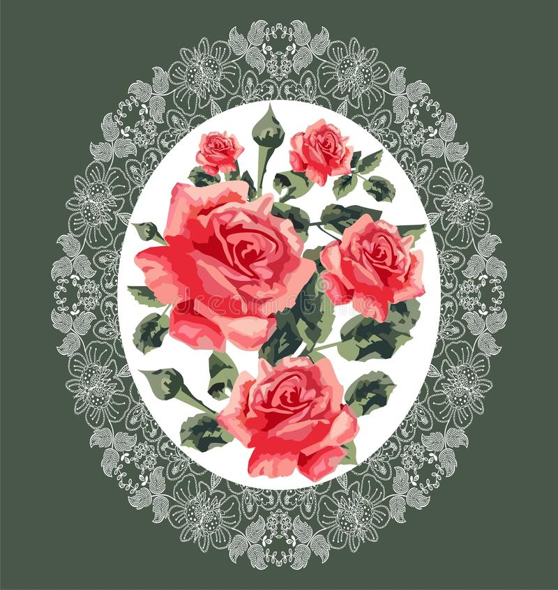 Blom- modell (rosor) stock illustrationer