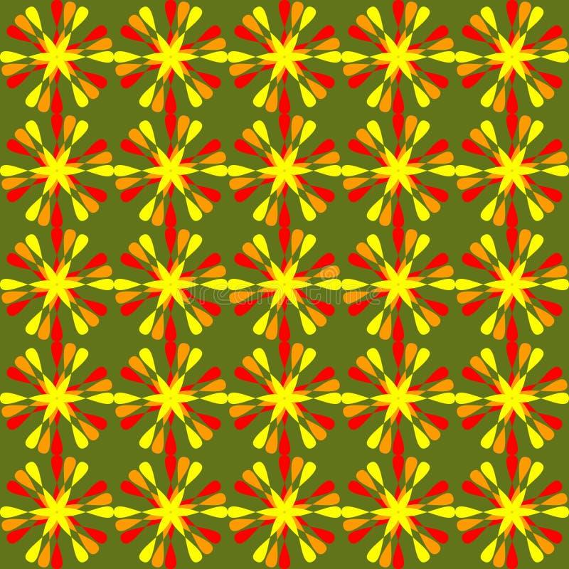 Blom- modeller för sommar, gladlynt blom- prydnad i rött och orange på levande grön bakgrund sömlös bakgrund in royaltyfri illustrationer