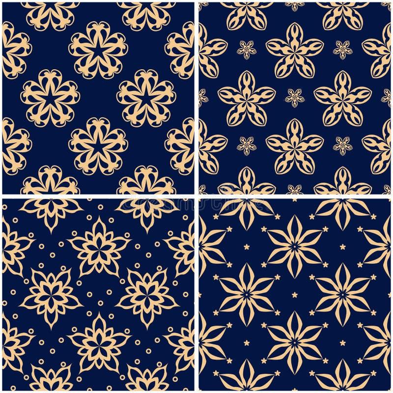 Blom- modeller Uppsättning av guld- blåa sömlösa bakgrunder stock illustrationer