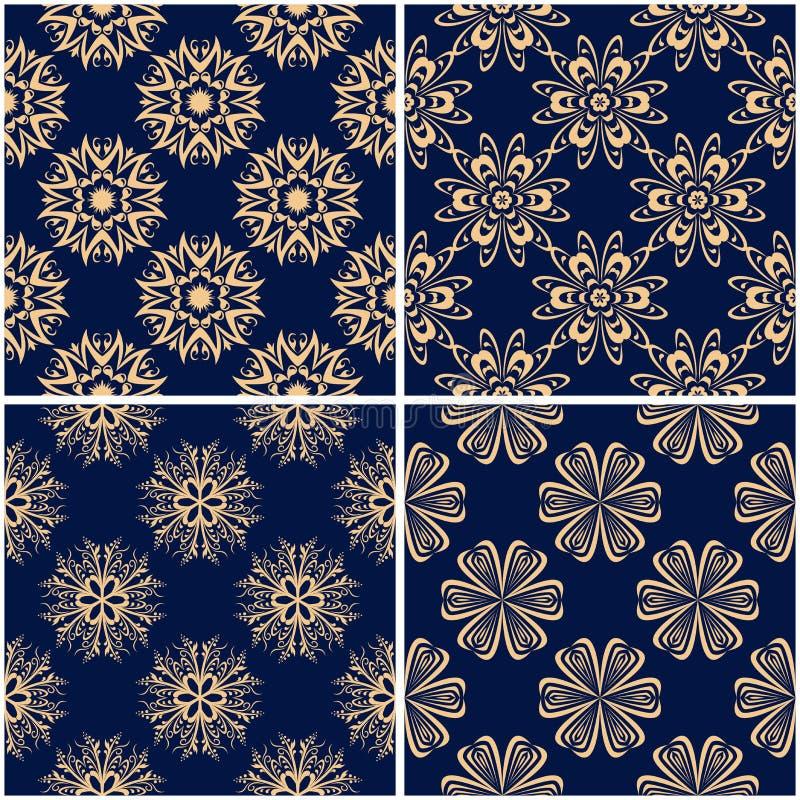 Blom- modeller Uppsättning av guld- blåa sömlösa bakgrunder vektor illustrationer