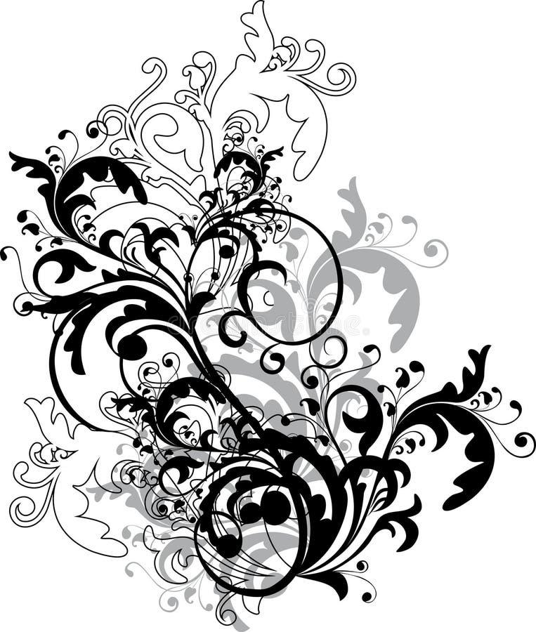 blom- monokrom prydnad royaltyfri illustrationer