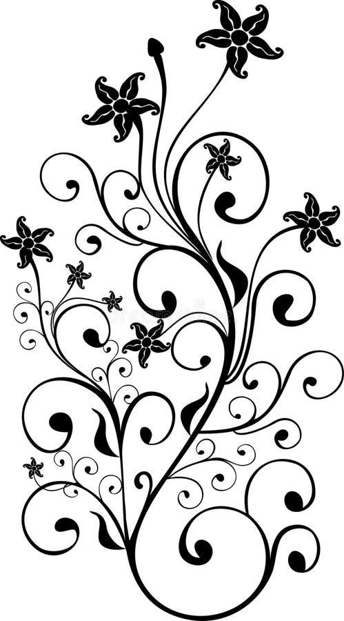 blom- monokrom prydnad stock illustrationer