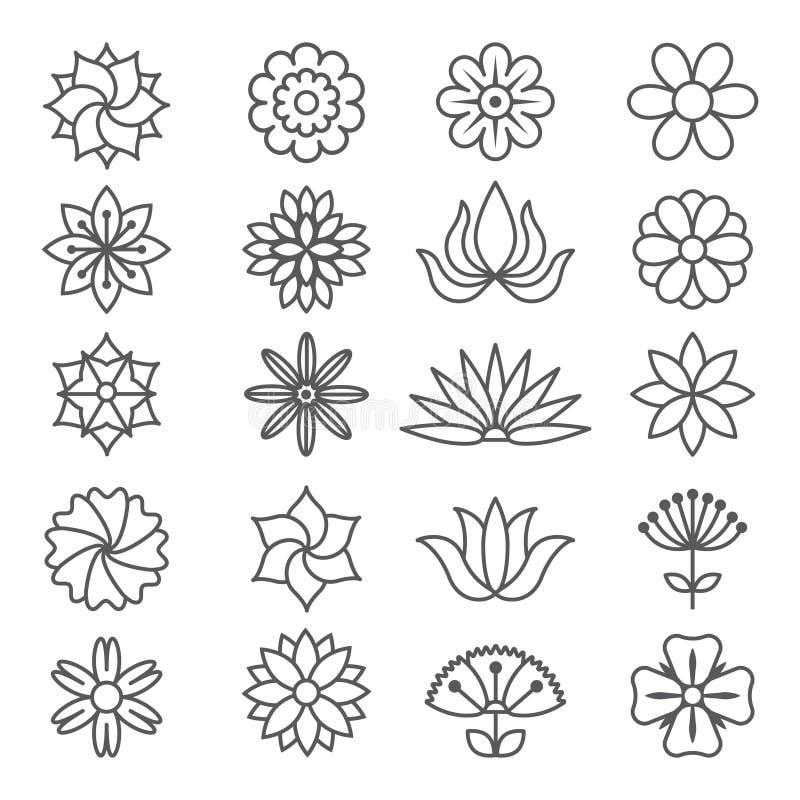 Blom- monokromma bilder för logodesign vektor illustrationer