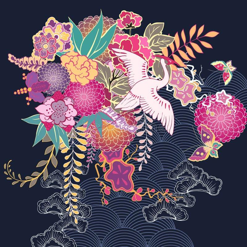 Blom- motiv för dekorativ kimono stock illustrationer