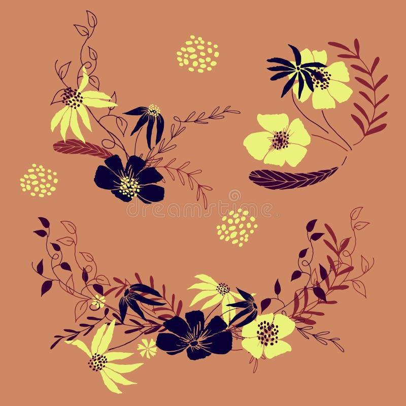 Blom- motiv för design Vektoruppsättning av blommor och sidor stock illustrationer