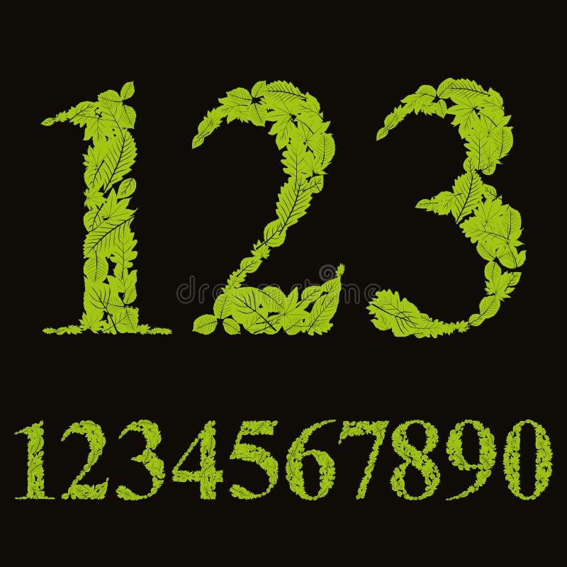 Blom- nummer som gjordes med sidor, naturliga tal, ställde in, vektorn de vektor illustrationer