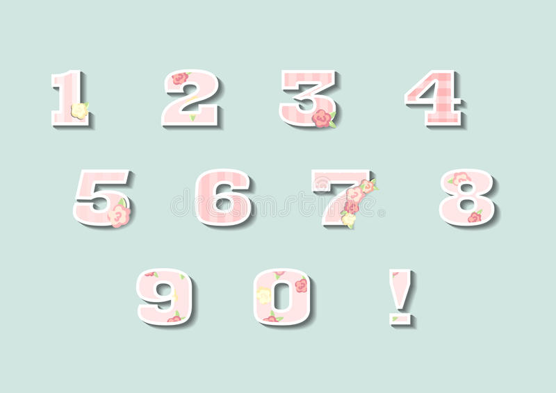 Blom- nummer ställde in, tappningstiltal, vektoruppsättning royaltyfri illustrationer
