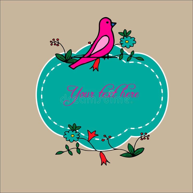 Blom- och fåglar planlägg variationer för kort, affischer, inbjudningar vektor illustrationer