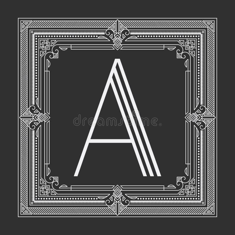 Blom- och geometrisk monogramram för vektor på mörker - grå bakgrund Monogramdesignbeståndsdel royaltyfri illustrationer