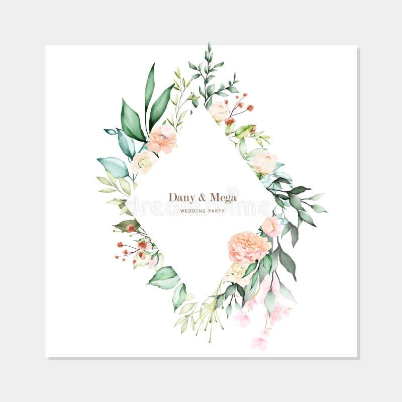 Blom- och sidor som gifta sig stil för inbjudankortvattenfärg royaltyfri illustrationer
