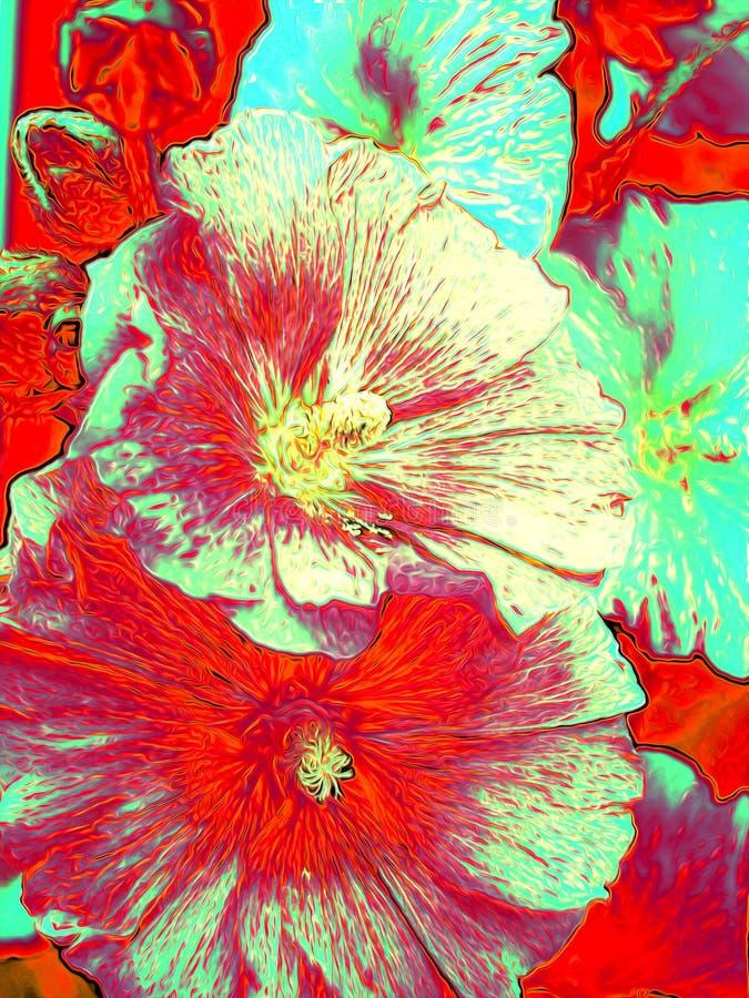 Blom- olje- målning royaltyfri foto