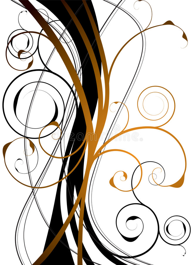 blom- orange swirl stock illustrationer