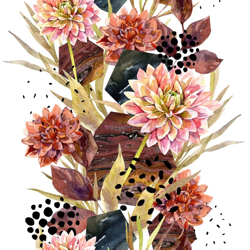 Blom- ordning för höstvattenfärg royaltyfri illustrationer