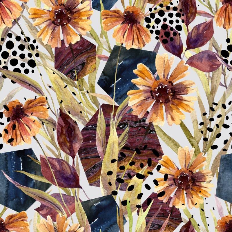 Blom- ordning för höstvattenfärg, sömlös modell royaltyfri illustrationer
