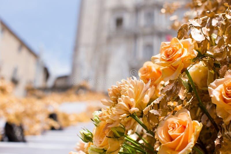 Blom- ordningar för blommafestival i Girona royaltyfri fotografi