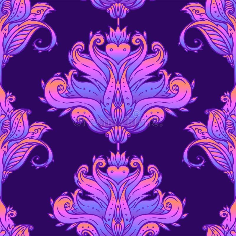 Blom- paisley inspirerade den indiska färgrika utsmyckade sömlösa modellen Retro bakgrund för dekorativ stil, utsmyckad design me vektor illustrationer