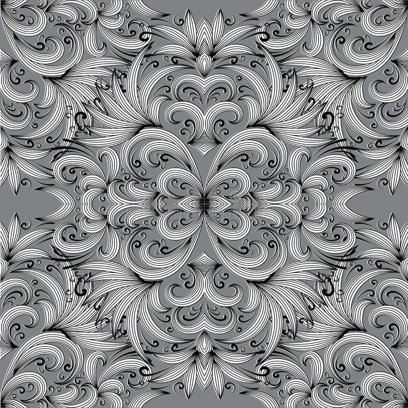 Blom- paisley seamless modell Vektorbakgrund med klotter s stock illustrationer