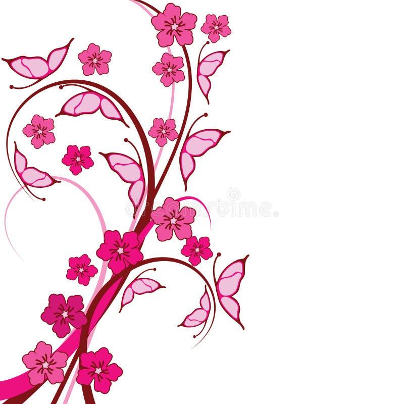 blom- pink för bakgrundsfjärilar stock illustrationer