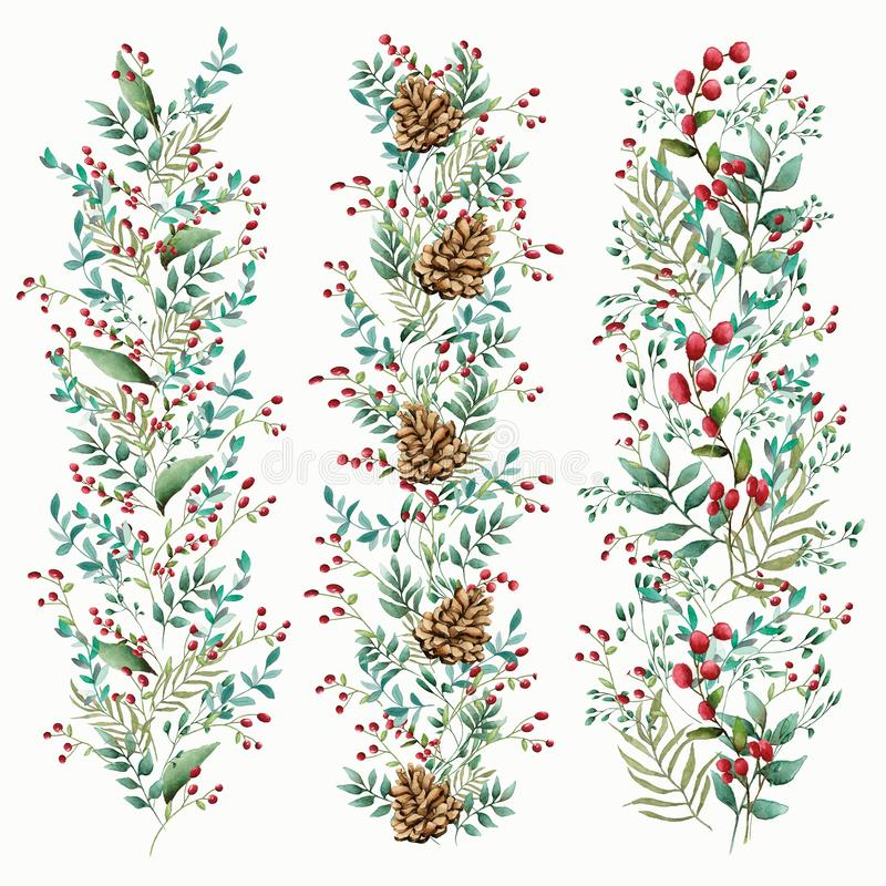 Blom- prydnad av blommor av härliga skuggor Modell från sidor av olika växter och bär av lingonet eller tranbäret f stock illustrationer