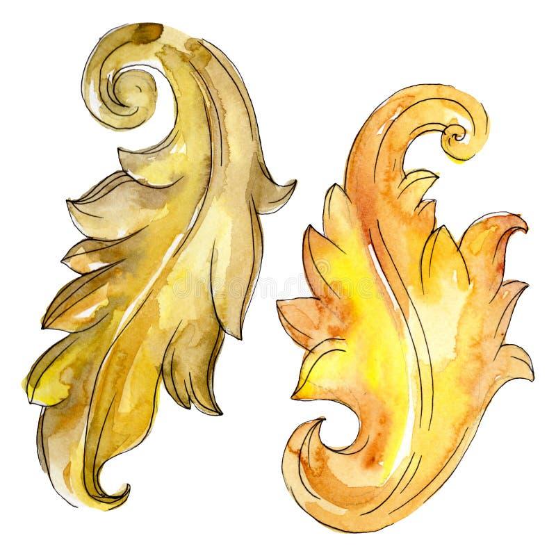 Blom- prydnad för guld- monogram Den barocka designen isolerade beståndsdelar Uppsättning för vattenfärgbakgrundsillustration arkivfoto