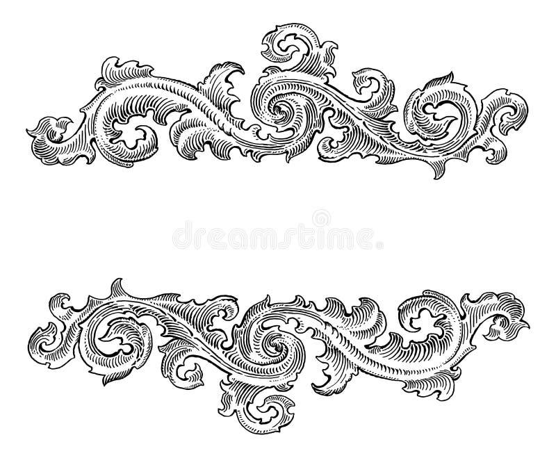 Blom- prydnad för härlig barock kalligrafi för stil dekorativ royaltyfri illustrationer