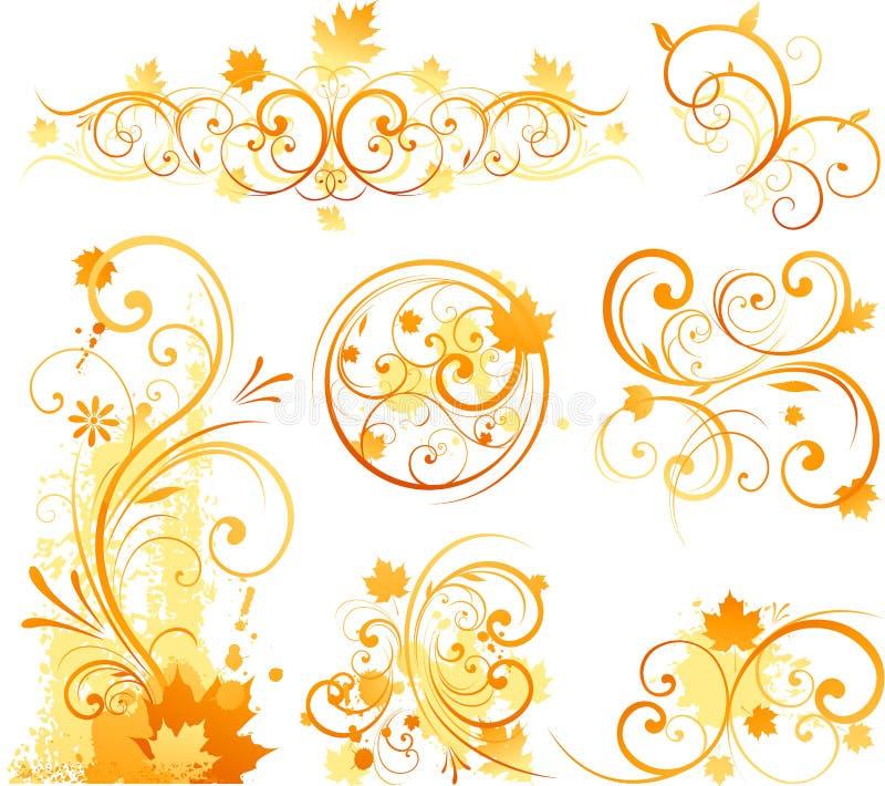 blom- prydnad för höst stock illustrationer