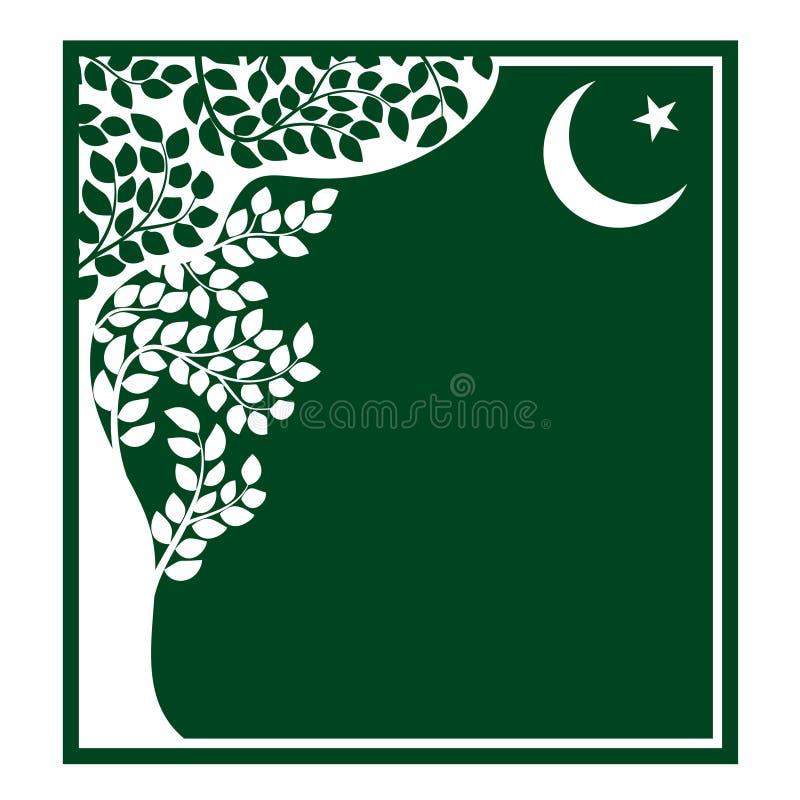 Blom- prydnad i orientalisk stil, grön ram stock illustrationer