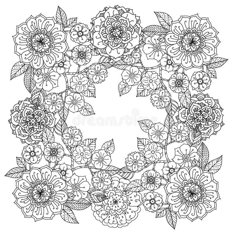 blom- prydnad Konst av mandalastil Zentangle vektor illustrationer