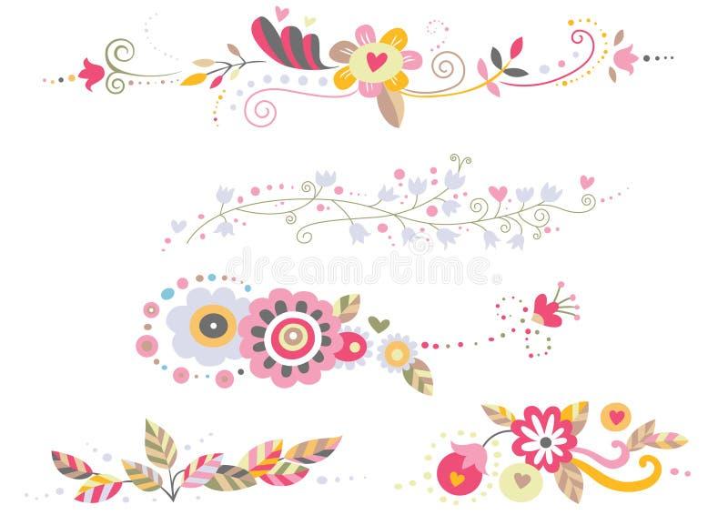 blom- prydnadar vektor illustrationer