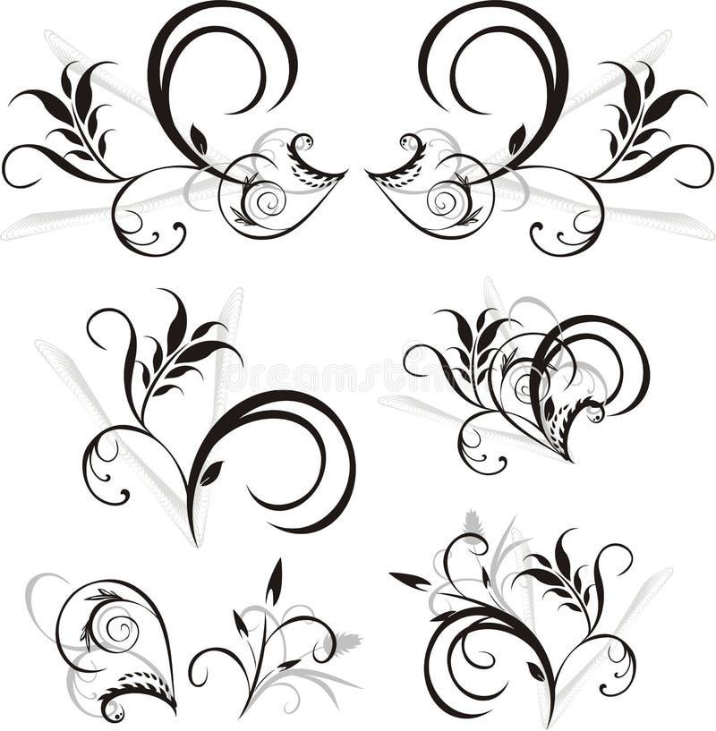 blom- prydnadmodell för design stock illustrationer