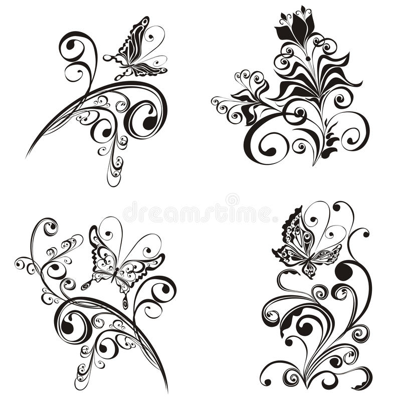 blom- prydnadvektor vektor illustrationer