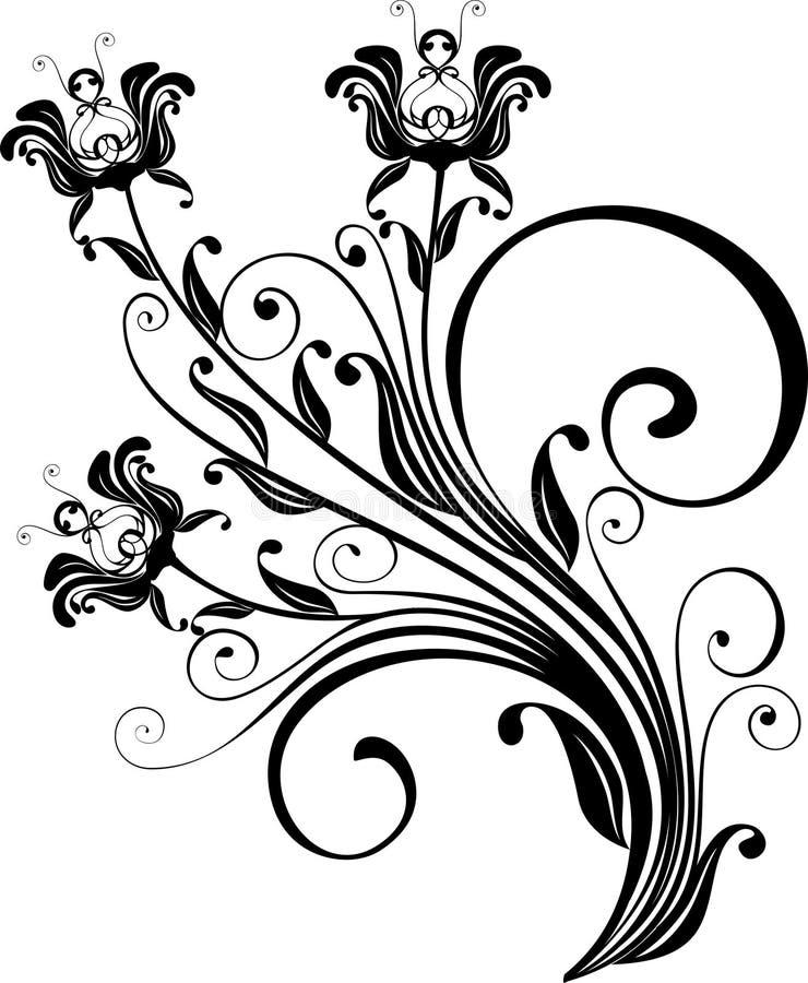 blom- prydnadvektor royaltyfri illustrationer