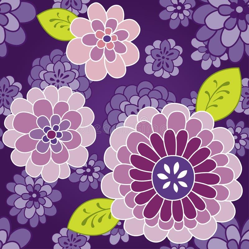 blom- purpur retro seamless textur vektor illustrationer