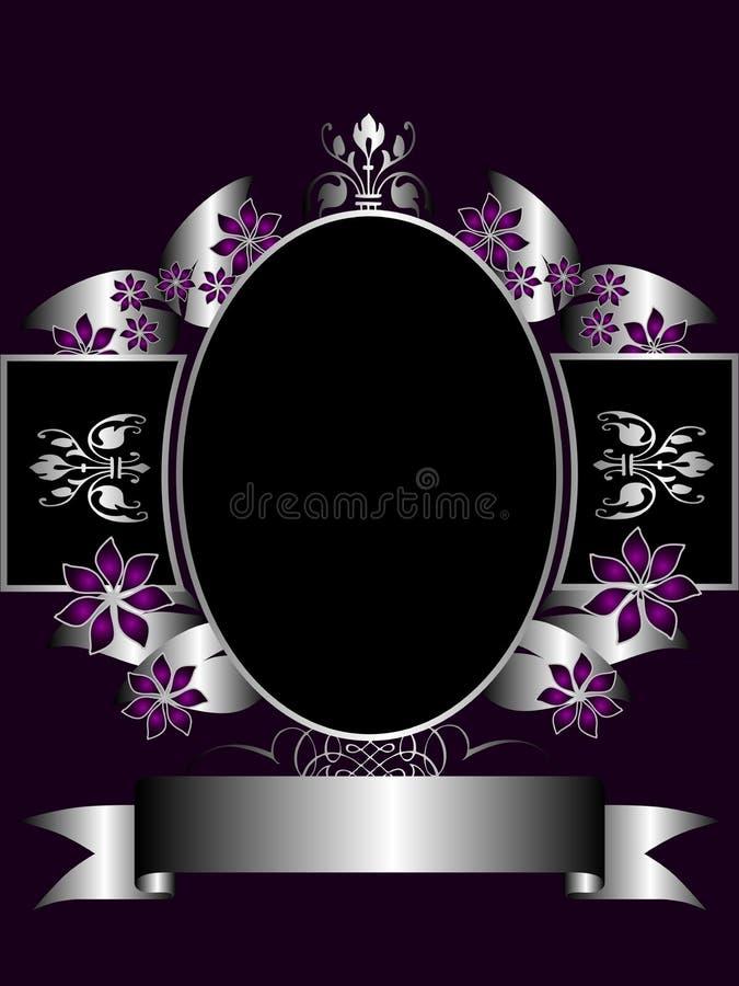 blom- purpur silver för bakgrund vektor illustrationer