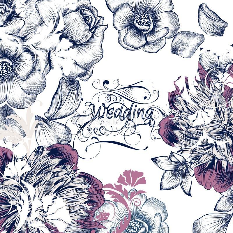 Blom- räddning för bröllopinbjudankort datumet i tappningstilwi vektor illustrationer