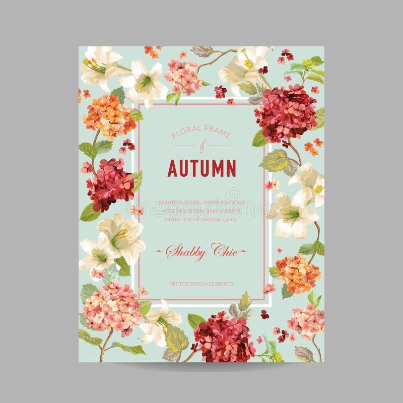 Blom- ram för för tappninghöst och sommar Vattenfärg Hortensia Flowers för inbjudan, bröllop, baby showerkort royaltyfri illustrationer