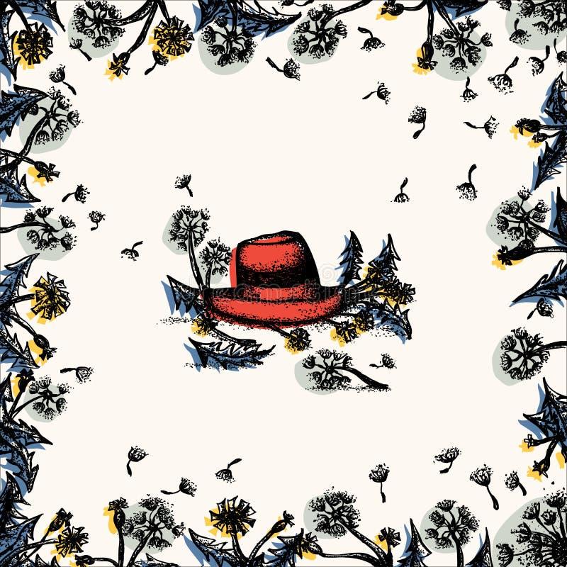 Blom- ram för maskros med den röda hatten royaltyfri illustrationer