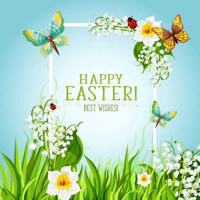 Blom- ram för påsk med design för vårblommakort vektor illustrationer