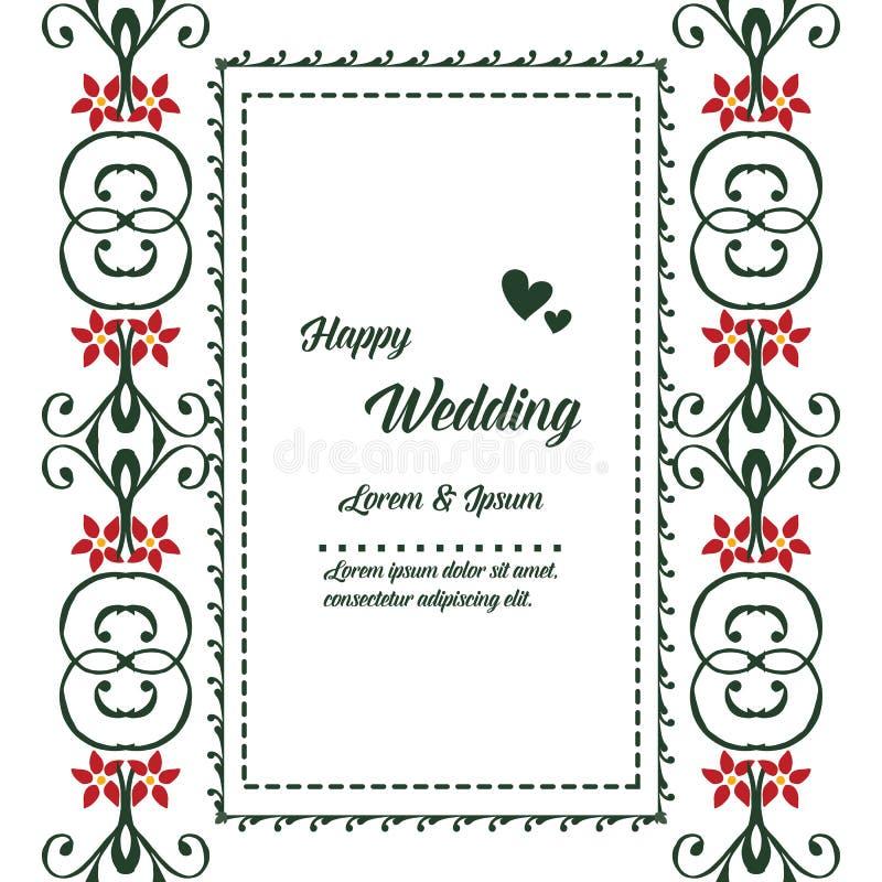 Blom- ram för Retro stil, tappninggarnering, lyckligt bröllop för mallkort vektor vektor illustrationer