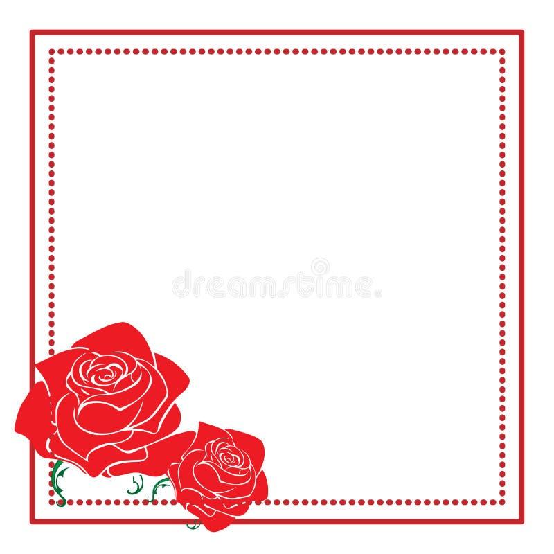 Blom- ram för tappning med roskonturn Röd och vit designbeståndsdel för annonseringar, reklamblad, rengöringsduk, bröllop, invita royaltyfri illustrationer