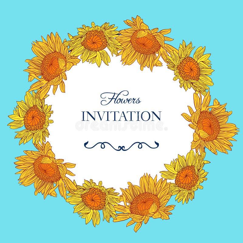 Blom- ram för tappning med solrosor stock illustrationer