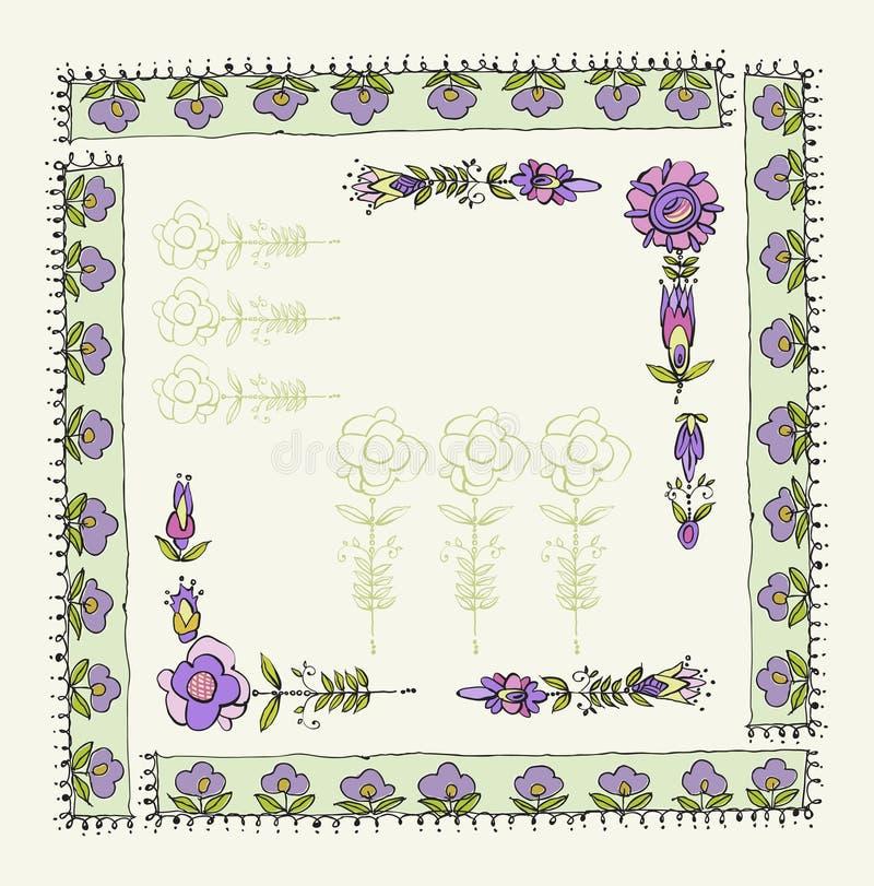 Blom- ram för tappning som isoleras på vit bakgrund vektor illustrationer