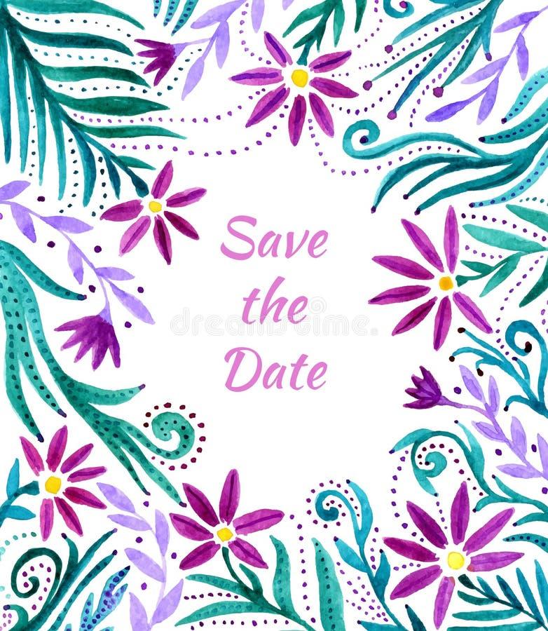 Blom- ram för vattenfärg, gränsmodell Bakgrund för vattenfärghandmålarfärg med blommor Vektormallvattenfärgen blommar kortet fo royaltyfri illustrationer
