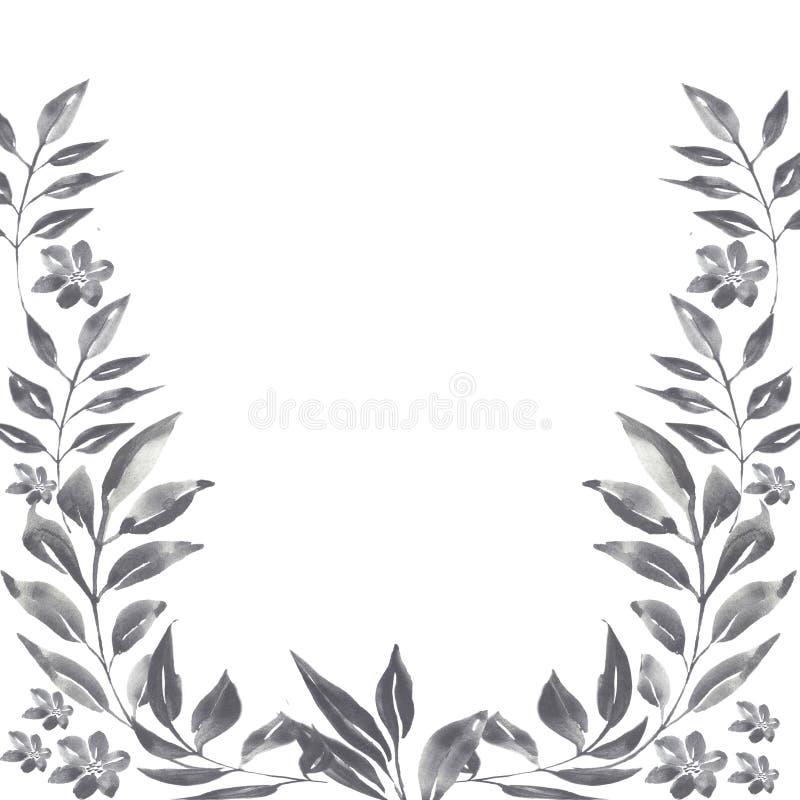 Blom- ram för vattenfärggrafit royaltyfri illustrationer